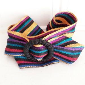 Vintage Festival Woven Textile Striped Belt  S/M